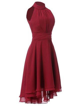 Homecoming Dress Red Dress Sleeveless Halter Round Neck Draped Solid Color Irregular High-low Party Evening Dresses