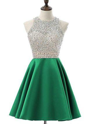 Homecoming Dress Green Dress Halter Sleeveless Open Back Rhinestone Stitching Short Party Evening Dresses