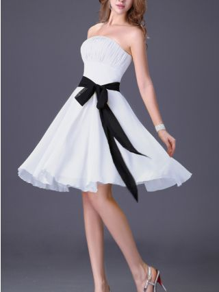 Homecoming Dress White Dress Black Dress Tube Top Belted Open Back Lace--up Short Party Evening Dresses