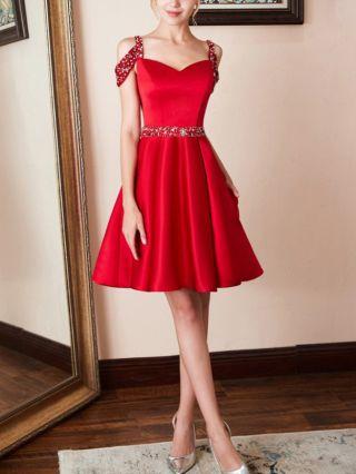Homecoming Dress Red Dress Cold Shoulder Sleeveless V-Neck Rhinestone Short Banquet Evening Dresses
