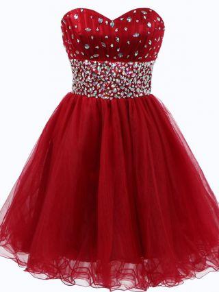 Homecoming Dress Burgundy Dress Tube Top Open Back Lace-up Rhinestone Gauze Short Vintage Evening Dresses
