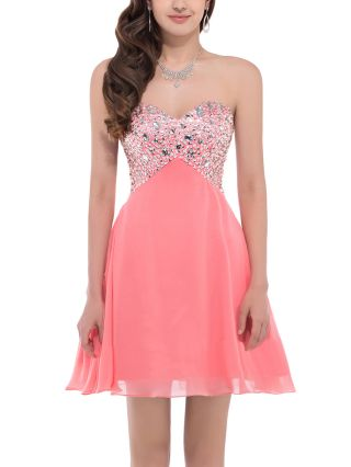 Tube Top Homecoming Dress Coral Dress Rhinestone Open Back Lace-up White Black Short Bridesmaid Evening Dresses