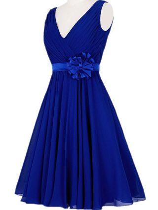 Homecoming Dress Royal Blue Dress Sleeveless V-Neck Handmade Flower Belted Short Bridesmaid Evening Dresses