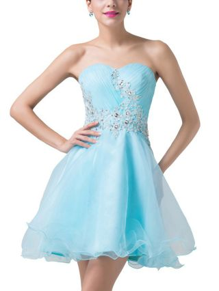 Tube Top Homecoming Dress Sky Blue Dress Lace Rhinestone Open Back Lace-up Short Banquet Evening Dresses