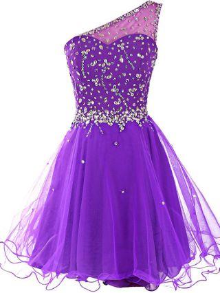 Homecoming Dress Purple Dress One Shoulder Sleeveless Beading Rhinestone Performance Dress Short Evening Tutu Dresses