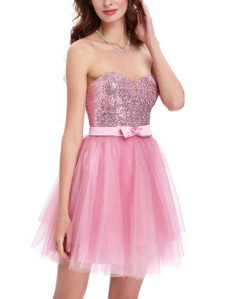 Homecoming Dress Pink Dress Tube Top Sequins Gauze Graduation Dress Open Back Bowknot Short Bridesmaid Evening Dresses