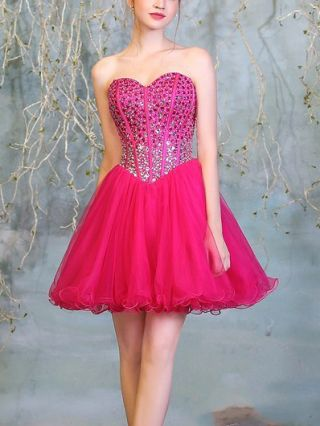 Homecoming Dress Rose Red Dress Tube Top Rhinestone Gauze Open Back Short Bridesmaid Evening Dresses