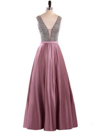 Homecoming Dress Purple Dress Sleeveless V-Neck Beading Rhinestone Stitching Maxi Birthday Party Evening Dresses