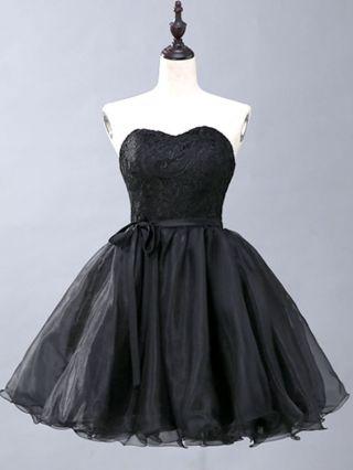 Little Black Dress Tube Top Open Back Lace Tutu Dress Homecoming Dress Belted Short Party Evening Dresses