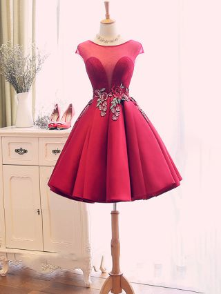 Homecoming Dress Rose Red Dress Sleeveless Round Neck Lace Flower Embroidery Gauze Stitching Short Party Evening Dresses
