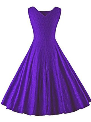 Purple Dress Sleeveless V-Neck Jacquard Solid Color Homecoming Dress Midi Swing Party Evening Dresses