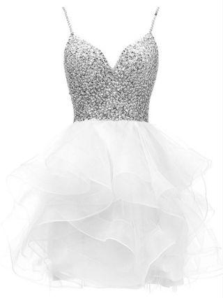 Homecoming Dress White Dress Slip V-Neck Rhinestone Sequins Gauze Stitching Multi-layered Short Party Evening Dresses