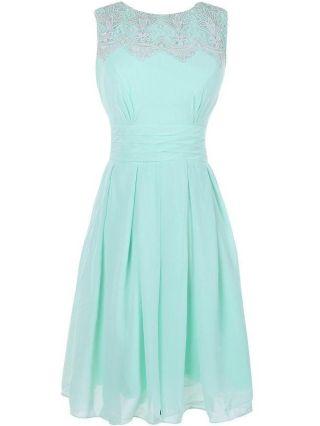Homecoming Dress Green Dress Lace Chiffon Sleeveless Round Neck Midi Bridesmaid Evening Dresses