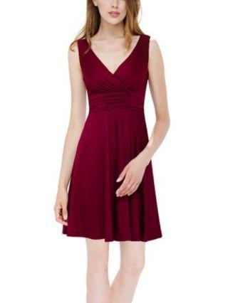 Homecoming Dress Burgundy Dress Blue Dress Sleeveless V-Neck Chiffon Short Banquet Evening Dresses
