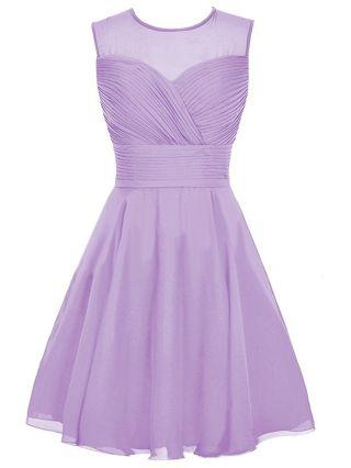 Homecoming Dress Purple Dress Chiffon Gauze Stitching Sleeveless Round Neck Short Bridesmaid Evening Dresses