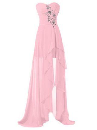 Tube Top Homecoming Dress Rhinestone Open Back Irregular Chiffon Maxi Banquet Evening Dresses