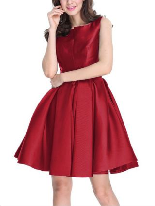Homecoming Dress Burgundy Dress Sleeveless Round Neck Solid Color Bowknot Satin Short Bridesmaid Evening Dresses