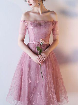 Homecoming Dress Pale Mauve Dress Off the Shoulder Short Sleeve Gauze Tube Top Belted Long Bridesmaid Evening Dresses
