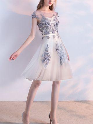 Homecoming Dress Grey Dress Lace Beading Gauze Stitching Sleeveless Round Neck Open Back Short Bridesmaid Evening Dresses