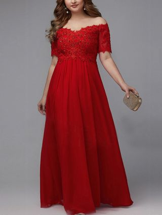 Wedding Guest Dress Red Dress Off the Shoulder Short Sleeve Lace Rhinestone Stitching Maxi Party Evening Dresses