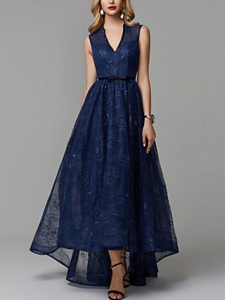 Lace Dress Dark Blue Dress Sleeveless V-Neck Beading Tube Top Maxi Evening Prom Dresses