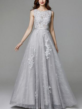 Grey Dress Sleeveless Round Neck Open Back Lace Gauze Stitching Elegant Maxi Evening Prom Dresses