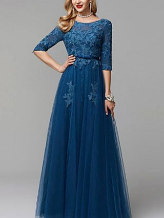 Wedding Guest Dress Navy Blue Dress Half-sleeve Round Neck Open Back Lace Gauze Sequin Bowknot Maxi Evening Prom Dresses