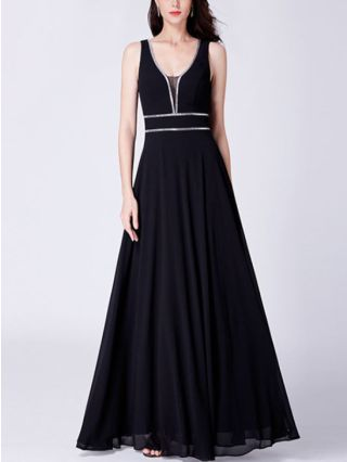 Wedding Guest Dress Black Dress Burgundy Dress Sleeveless V-Neck Open Back Stitching Color Maxi Evening Prom Dresses