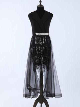 Wedding Guest Dress Black Dress Lapel Sleeveless Sequins Tassel Belted Homecoming Dress Irregular Chiffon Stitching Midi Party Evening Dresses