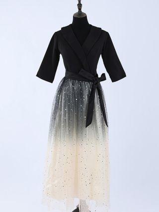 Black Dress Half-sleeve Lapel Sequins Homecoming Dress Gauze Belted Maxi Banquet Evening Dresses