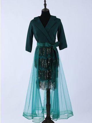 Homecoming Dress Dark Green Dress Lapel Half-sleeve Belted Gauze Sequins Stitching Banquet Evening Long Dresses