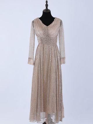 Wedding Guest Dress Long Sleeve V-Neck Sequins Draped Chiffon Maxi Party Evening Dresses