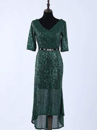 Wedding Guest Dress Dark Green Dress Half-sleeve V-Neck Sequins Belted Irregular Maxi Split Party Evening Dresses