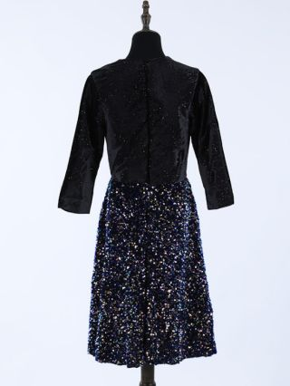 Wedding Guest Dress Black Dress Three Quarters Sleeve V-Neck Sequins Midi Party Evening Dresses