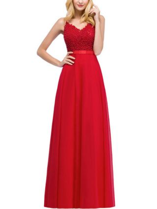 Red Dress Slip V-Neck Open Back Lace Beading Stitching Maxi Bridesmaid Evening Prom Dresses