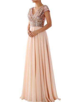 Black Dress Sequins Chiffon Stitching Short Sleeve V-Neck Maxi Party Evening Prom Dresses