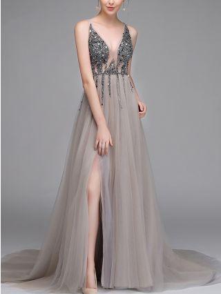 Wedding Guest Dress Grey Dress Sleeveless V-Neck Sequins Gauze Stitching Maxi Split Floor Length Evening Prom Dresses