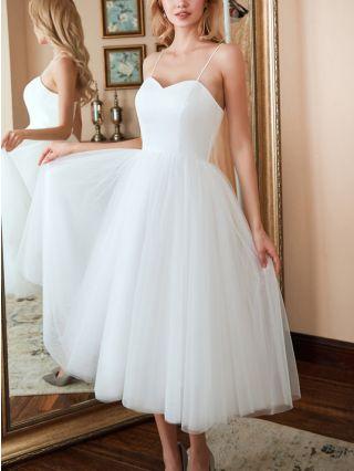 White Dress Slip V-Neck Open Back Lace-up Solid Color Gauze Homecoming Dress Bridesmaid Evening Long Dresses