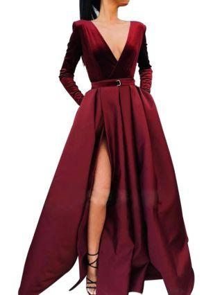 Burgundy Dress Deep V-Neck Long Sleeve Solid Color Belted Maxi Split Evening Prom Dresses