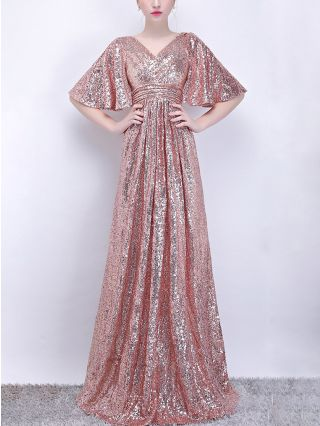 Wedding Guest Dress Rose Gold Dress Short Sleeve V-Neck Sequins Maxi Bridesmaid Evening Prom Dresses
