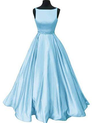 Sky Blue Dress Sleeveless Round Neck Open Back Rhinestone Maxi Evening Prom Dresses