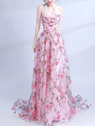 Pink Dress Tube Top Floral Printed Handmade Flowers Lace Floor Length Banquet Performance Maxi Evening Prom Dresses