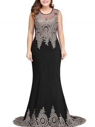 Plus Size Black Dress Sleeveless Round Neck Applique Lace Gauze See-through Floor Length Evening Prom Dresses