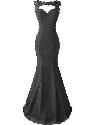 Black Dress Sleeveless Cut Out V-Neck Lace Chiffon Applique Maxi Mermaid Evening Prom Dresses