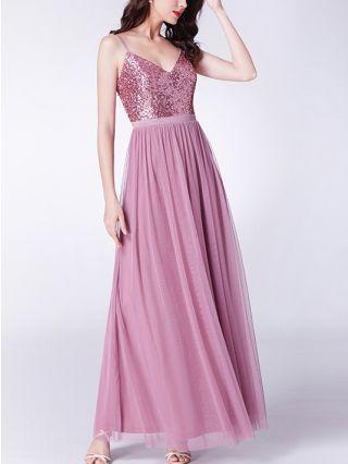 Wedding Guest Dress Pale Mauve Dress Slip V-Neck Open Back Sequins Gauze Stitching Maxi Evening Prom Dresses