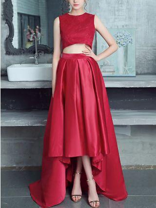 Two Piece Dress Set Sleeveless Round Neck Vest Irregular High Waisted Skirt Lace Stitching Maxi Satin Bridesmaid Evening Dresses