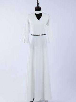 White Dress Black Dress Bell Half-sleeve Cut Out V-Neck Belted Chiffon Maxi Banquet Evening Dresses