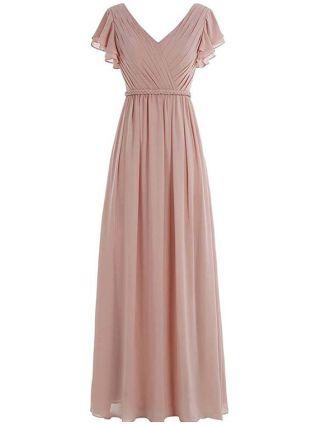 Wedding Guest Dress Pink Dress Ruffled Short Sleeve V-Neck Solid Color Chiffon Maxi Bridesmaid Evening Dresses