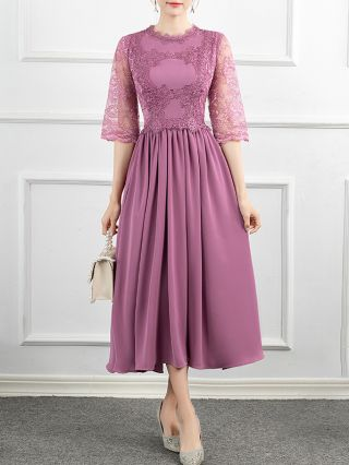 Homecoming Dress Purple Dress Three Quarters Sleeve Round Neck Lace Stitching Party Evening Long Dresses