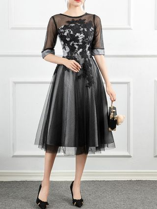 Homecoming Dress Black Dress Half-sleeve Round Neck Lace Gauze Hollow See-through Banquet Party Evening Long Dresses